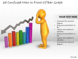 3d Confused Man In Front Of Bar Graph Ppt Graphics Icons Powerpoint