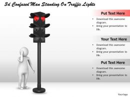 3d Confused Man Standing On Traffic Lights Ppt Graphics Icons Powerpoint
