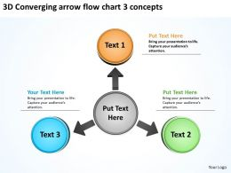 3d converging arrow flow chart concepts Arrows Process Software PowerPoint Slides