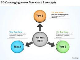 3d converging arrow flow chart concepts Arrows Process Software PowerPoint Slides