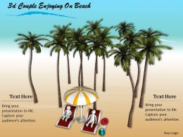 3d Couple Enjoying On Beach Ppt Graphics Icons Powerpoint