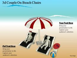 3d Couple On Beach Chairs Ppt Graphics Icons Powerpoint