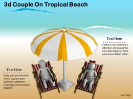 3d Couple On Tropical Beach Ppt Graphics Icons Powerpoint