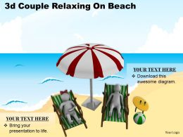 3d Couple Relaxing On Beach Ppt Graphics Icons Powerpoint
