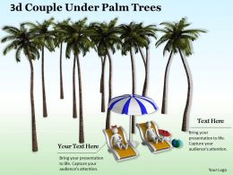3d Couple Under Palm Trees Ppt Graphics Icons Powerpoint