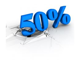 3D Crack Effect Blue Color Fifty Percent Stock Photo
