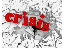 3D Crack Effect Crisis Text Background Stock Photo