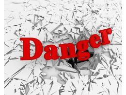 3D Crack Effect Red Text Danger Stock Photo
