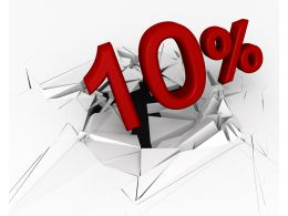 3D Crack Effect With 10 Percent Stock Photo