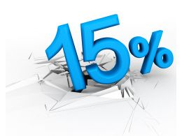 3D Crack Effect With Blue Fifteen Percent Stock Photo
