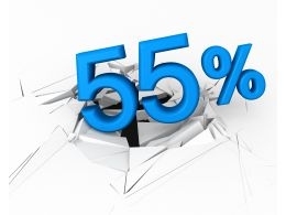 3D Crack Effect With Blue Fifty Five Percent Stock Photo