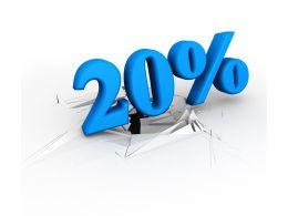 3D Crack Effect With Blue Twenty Percent Stock Photo