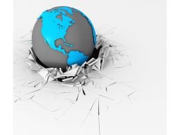 3D Crack Effect With Globe On Earth Stock Photo 1