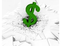 3D Crack Effect With Green Dollar On Stock Photo