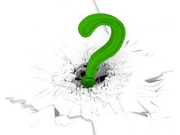 3D Crack Effect With Green Question Mark Stock Photo