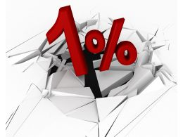 3D Crack Effect With One Percent Stock Photo