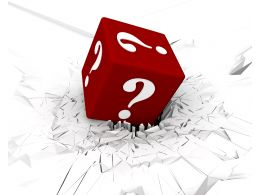 3D Crack Effect With Red Colored Dice With White Question Mark Stock Photo