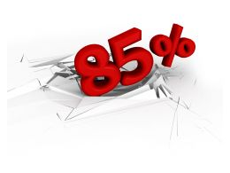 3D Crack Effect With Red Eighty Five Percent Stock Photo