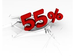 3D Crack Effect With Red Fifty five Percent Stock Photo
