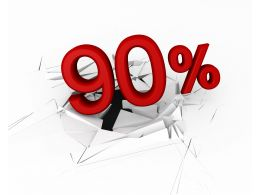 3D Crack Effect With Red Ninety Percent Stock Photo