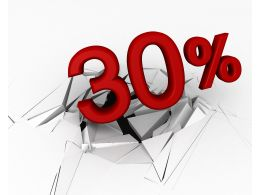 3D Crack Effect With Red Thirty Percent White Background Stock Photo