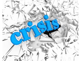 3D Crack Effect With Word Crisis Stock Photo