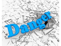 3D Crack Effect With Word Danger Stock Photo