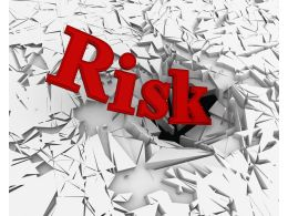 3D Crack Effect With Word Risk Stock Photo