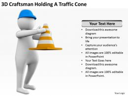 3D Craftsman Holding A Traffic Cone Ppt Graphics Icons Powerpoint