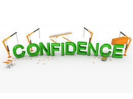 3d Crane And Text Of Confidence With Hurdles Stock Photo