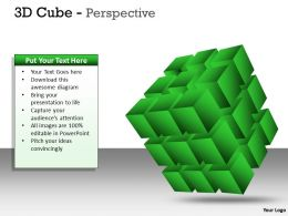 3D Cube green Perspective PPT 5