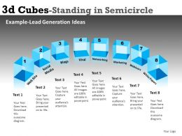 3D Cubes 2 in Semicircle Powerpoint Presentation Slides DB