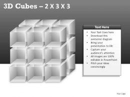3D Cubes 2x3x3 Powerpoint Presentation Slides