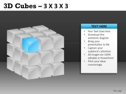 3D Cubes 3x3x3 Powerpoint Presentation Slides DB