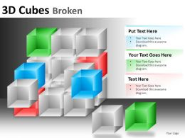 3D Cubes Broken 1 Powerpoint Presentation Slides DB