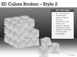 3d Cubes Broken 2 Powerpoint Presentation Slides DB