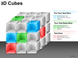 3D Cubes Broken Style 1 Powerpoint Presentation Slides