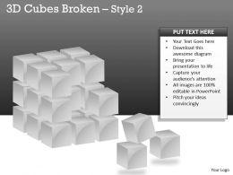 3D Cubes Broken Style 2 PPT 120