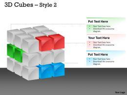 3D Cubes Broken Style 2 PPT 121
