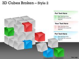 3D Cubes Broken Style 2 PPT 122