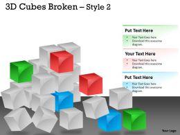 3D Cubes Broken Style 2 PPT 123