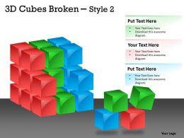 3D Cubes Broken Style 2 PPT 124