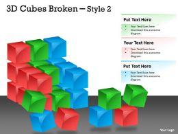 3D Cubes Broken Style 2 PPT 125