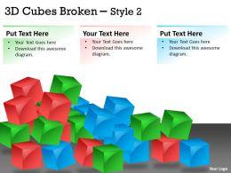 3D Cubes Broken Style 2 PPT 126