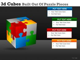 3D Cubes Built Of Puzzle Powerpoint Presentation Slides DB