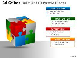 3D Cubes Built Out Of Puzzle Pieces PPT 128
