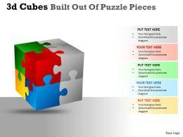 3D Cubes Built Out Of Puzzle Pieces PPT 130