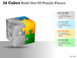 3D Cubes Built Out Of Puzzle Pieces PPT 131