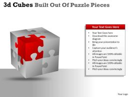 3D Cubes Built Out Of Puzzle Pieces PPT 132