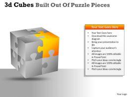 3D Cubes Built Out Of Puzzle Pieces PPT 133